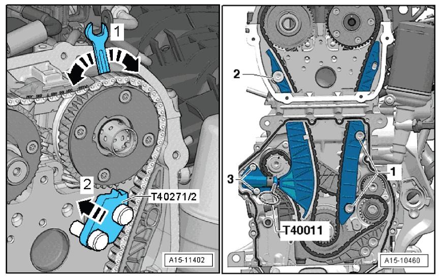 将凸轮轴固定装置 T40271/1 拧到气缸盖上。用扳手沿箭头方向1 旋转排气凸轮轴,然后将凸轮轴固定装置 T40271 推入链轮的啮合齿(箭头方向2)。 用螺丝刀打开卡子,拆下上部滑轨(箭头),将滑轨向前推开。 拆卸凸轮轴正时链滑轨 1 。取下正时链。